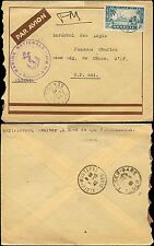 SENEGAL 1940 MARITIME CENSORED AIR to ALGERIA + RAILWAY STATION POSTMARK