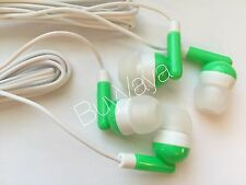 200x  Disposable head Phones Or Ear Buds green Color  Stereo Sound Good Quality