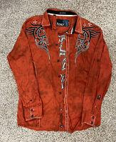 ROAR  XL Mens Signature Orange Long Sleeve Button Up Shirt Black Embroidered