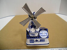 Hand Painted Delft Blue Wind Up Musical Windmill by Elesva Holland - EUC
