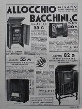 1935 RADIO ALLOCCHIO BACCHINI RADIOFONOGRAFO PUBBLICITA VINTAGE ADVERT WERBUNG