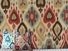 Drapery Upholstery Fabric Screen-Printed Rustic Linen Ikat - Cherry Red on Beige