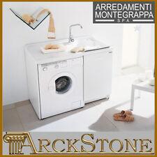 ARCKSTONE Lavatoio Copri Lavatrice Sinistra Montegrappa bianco con cesto 109X60