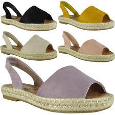 Womens Ladies Elastic Slingback Espadrilles Shoes Peeptoe Summer Sandals Size