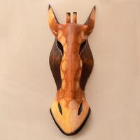 Vintage Solid Wood African Giraffe Animal Mask Wall Hanging Home Decor Souvenir