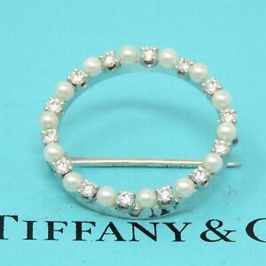 NYJEWEL Tiffany & Co 14k White Gold Pearl 0.56ct Diamond Pin Brooch