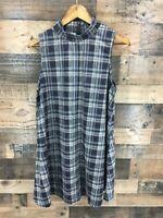 Loveriche Women's Brown Plaid Sleeveless Mock Neck A-Line Shift Dress Size L