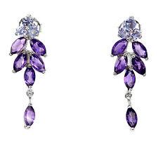 Sterling Silver 925 Genuine Natural Purple Amethyst & Violet Tanzanite Earrings