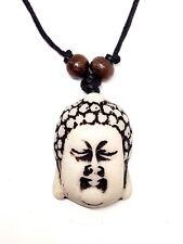 Buddha Pendant Necklace Adjustable Cord Wooden Beads Buddhist Pendant