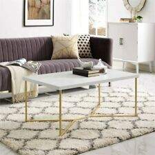 "42"" Rectangle Coffee Table with White Faux-Marble Top and Gold Base"