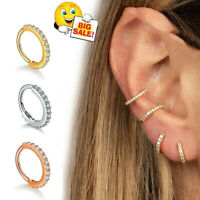 Helix Cartilage Tragus Conch Hoop Earring Nose Ring Crystal Ear Body Piercing