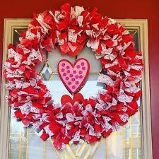 "New Handmade 18"" Valentines Day Rag Fabric Wreath Red White Love Hearts"
