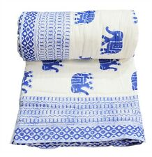 Indian Cotton Beautiful Elephant Print Reversible Winter Quilt Twin Size Blanket