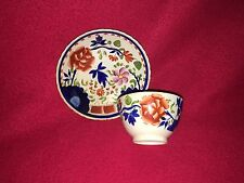 Staffordshire Pearlware Gaudy Dutch Double Rose Cup Saucer Ca. 1820