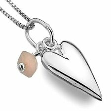 Beautiful Sterling Silver Jewellery: 14mm Long Heart Pendant with Rose Quartz...