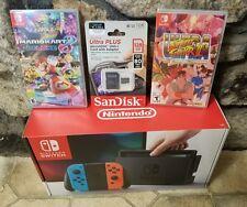 Nintendo Switch Bundle  Console ( Neon Joy) , Street Fight Mario Kart 8 128gb SD
