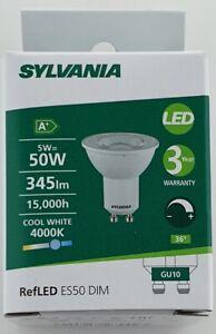 Packs of Sylvania LED GU10 V4 5W Cool White 5 Watts 345lm = 50W dim 0027442