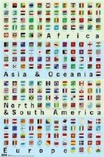 WORLD FLAGS OF THE SEVEN CONTINENTS POSTER 22x34 new free shipping