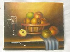 vintage Chandler oil painting still life fruit wine glass basket art wall decor