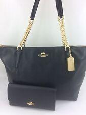 New COACH F22211 F29007 AVA Chain Tote Handbag Purse Bag Black Pebble Leather