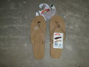 Rainbow Womens Leather Single Layer Wide Strap Arch Support Sandal Flip Flop 8.5