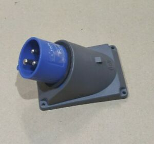 Legrand HYPRA 240v Blue Panel Mount plug appliance inlet Right Angle Industrial