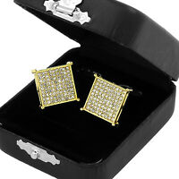 Men's Hip Hop Iced Out Medium Square Flat Screen Block Screw Back Stud Earring