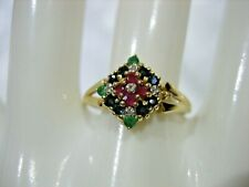 ESTATE VINTAGE 14K YELLOW GOLD DIAMOND EMERALD SAPPHIRE RUBY RING SIZE 9
