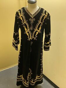 COSTUME KING Embroidered black gold Velvet Medieval play stage Tunic Men L