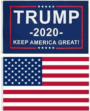 Trump 2020 Keep America Great and USA 3x5 FT Combo Pack (2 Flags)
