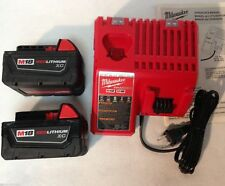 2 New Milwaukee M18 XC 3.0 Ah Batteries 48-11-1828 & 1 Charger 48-59-1812