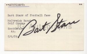 Bart Starr - NFL Football, Green Bay Packers - Signed 3x5 Card