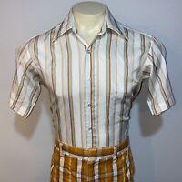 Vtg 60s 70s SEARS Golden Comfort Dress Shirt Disco Boogie Nights retro MENS 15.5