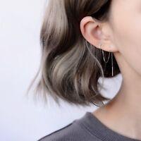 925 Sterling Silver CZ Heart Ear Cuff Threader Chain Line Thread Earring A1263