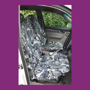 Front Car Van Grey Camo Waterproof LARGE Universal Airbag Compatible Seat Covers