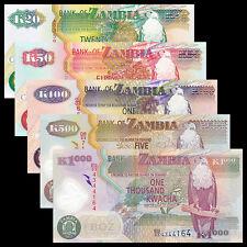 Zambia Set 5 PCS, 20+50+100+500+1000 Kwacha, 1992-2011, UNC