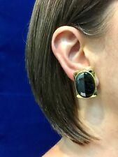 Modern Black Onyx & Hematite 18kt Yellow Gold Over Sterling Omega Earrings,New