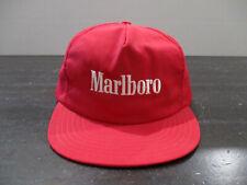 VINTAGE Marlboro Hat Cap Red White Spell Out Logo Cigarette Snap Back Men 90s*