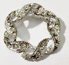 broche bijou vintage finement travaillé cristaux diamant couleur argent * 3528