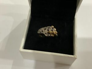 Beautiful Quality Panther Diamond & Sapphire Ring Cluster 9ct Gold Small Size J+