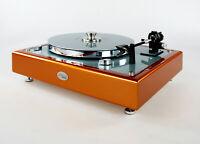 Restaurierter Thorens TD145 MKII Plattenspieler orange-ice blue metallic limited