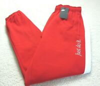 Nike Mens NSW Just Do It Heavyweight Fleece Lined Jogger Pants Red White NWT