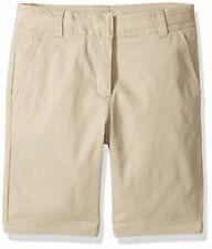 Girls' School Uniform Skinny Twill Bermuda Short, Su Khaki, Size 0.0 fg6N
