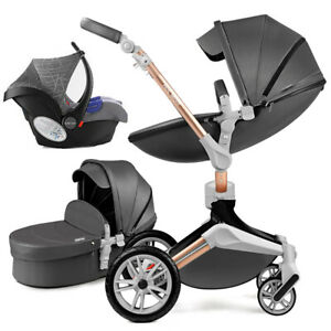 Hot mom 3 in 1 Baby Stroller high Bassinet 360 buggy travel Pushchair&car seat