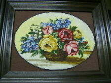 """Rose Bowl Bouquet Finished Needlepoint Picture 9 x 12"""""""
