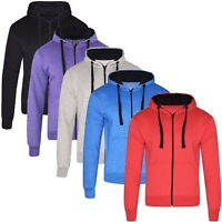 Ladies Womens Plain Zip Up Coloured Fleece Sweatshirt Hoodie Jacket Hooded Top