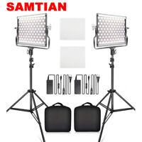 SAMTIAN 2PCS/Kit Dimmable Bi-color LED Video Light Photo Studio Lighting Stands