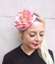 Peach Pink White Rose Flower Fascinator Net Hair Headband Wedding Races 3427