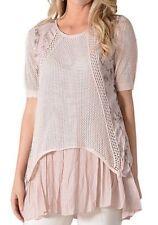 c6b495a6b3a6a XL NWT Women s Simply Couture Pink Floral Panel   Crochet SS Tunic