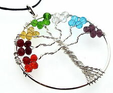 Tree of Life Chakra Glass Crystal Pendant Hand Crafted